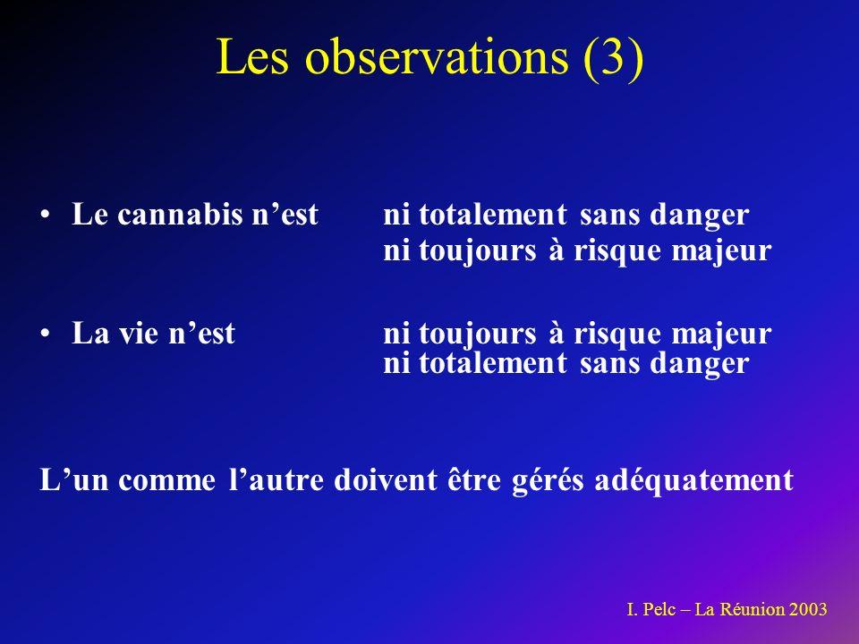 Les observations (3) Le cannabis n'est ni totalement sans danger ni toujours à risque majeur.