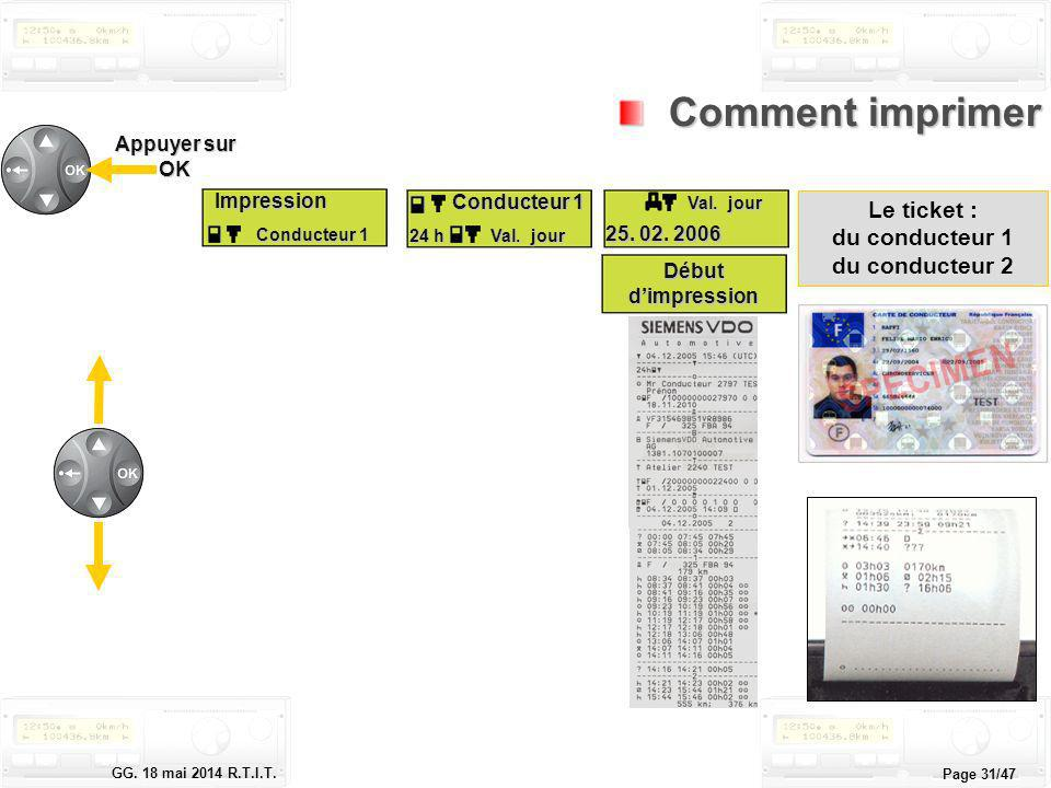 Comment imprimer !x Le ticket : du conducteur 1 du conducteur 2
