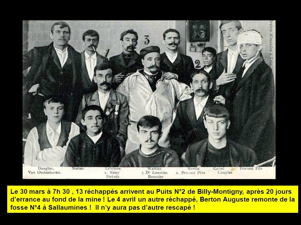 Le 30 mars à 7h 30 , 13 réchappés arrivent au Puits N°2 de Billy-Montigny, après 20 jours