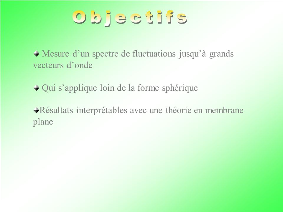 Objectifs Mesure d'un spectre de fluctuations jusqu'à grands vecteurs d'onde. Qui s'applique loin de la forme sphérique.