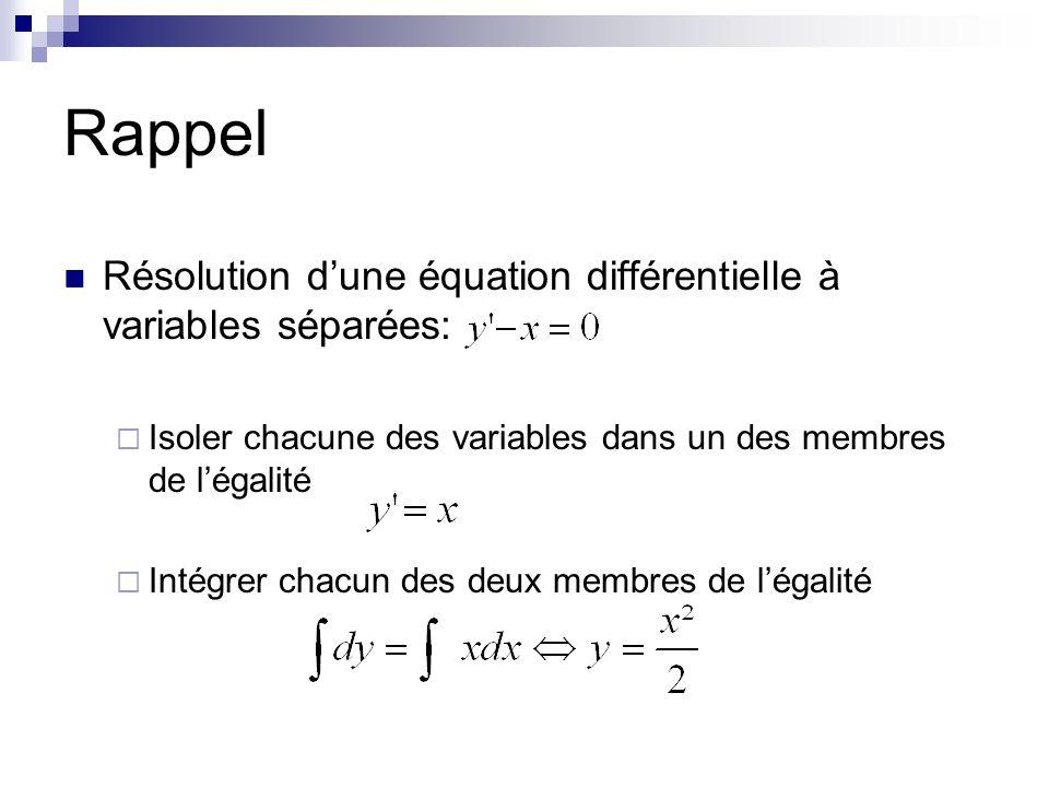 Rappel Résolution d'une équation différentielle à variables séparées: