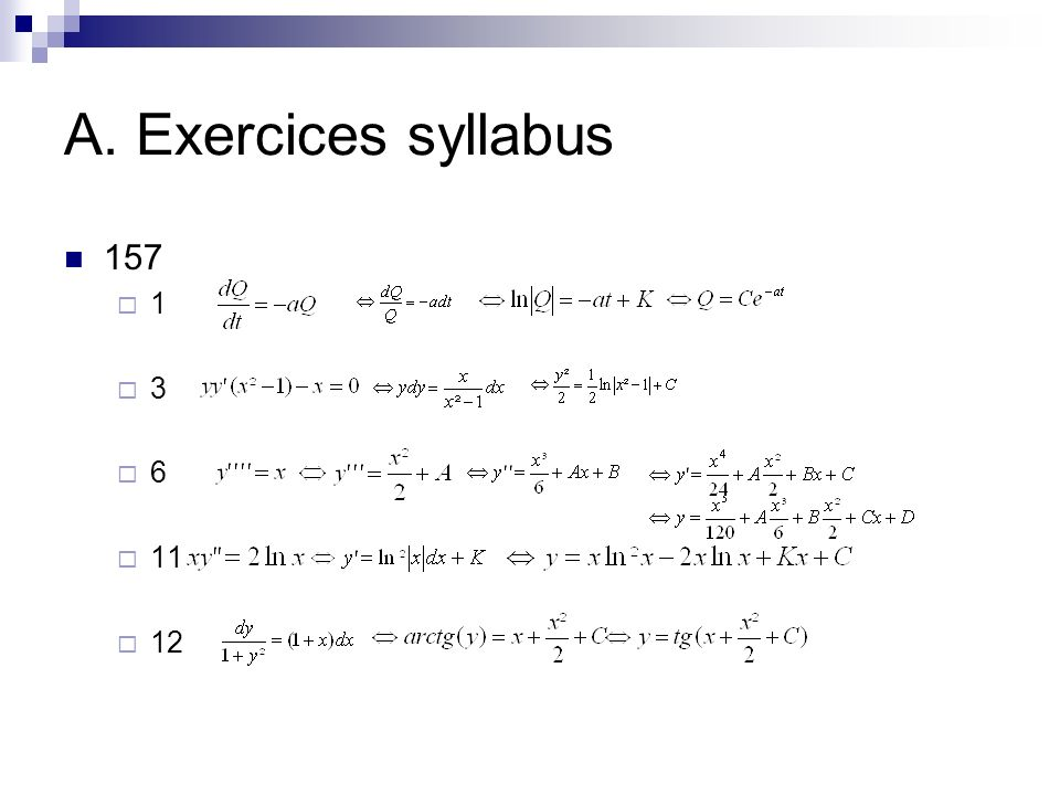 A. Exercices syllabus 157 1 3 6 11 12