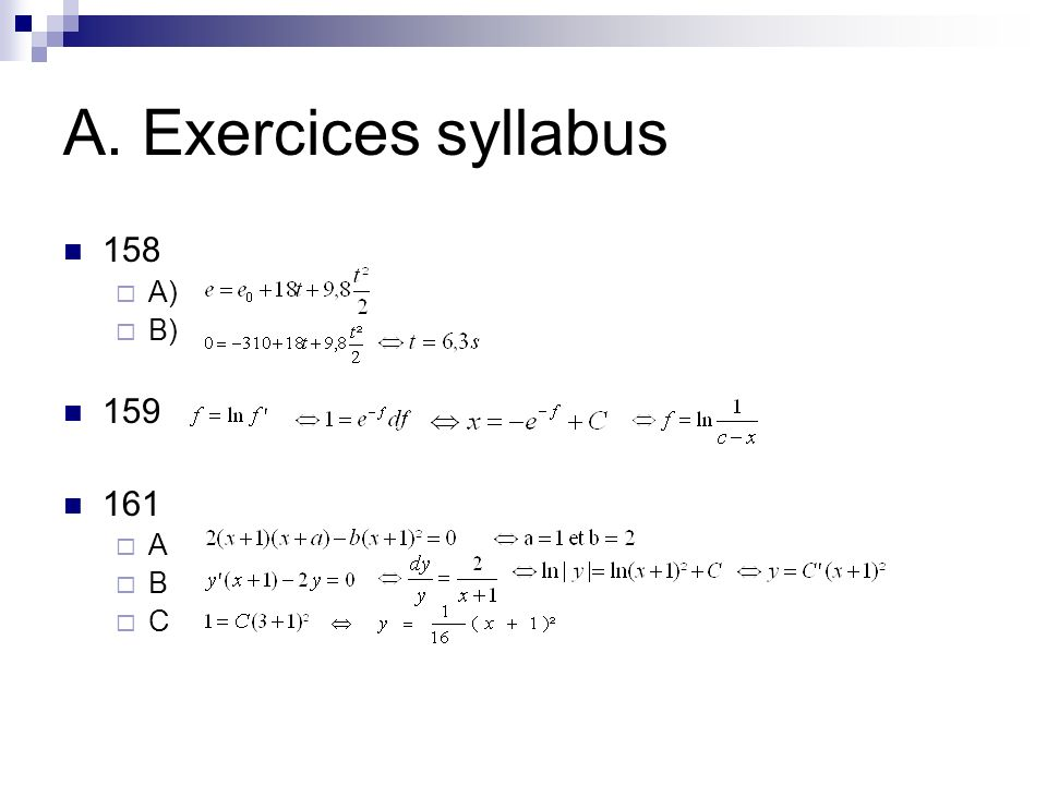 A. Exercices syllabus 158 A) B) 159 161 A B C