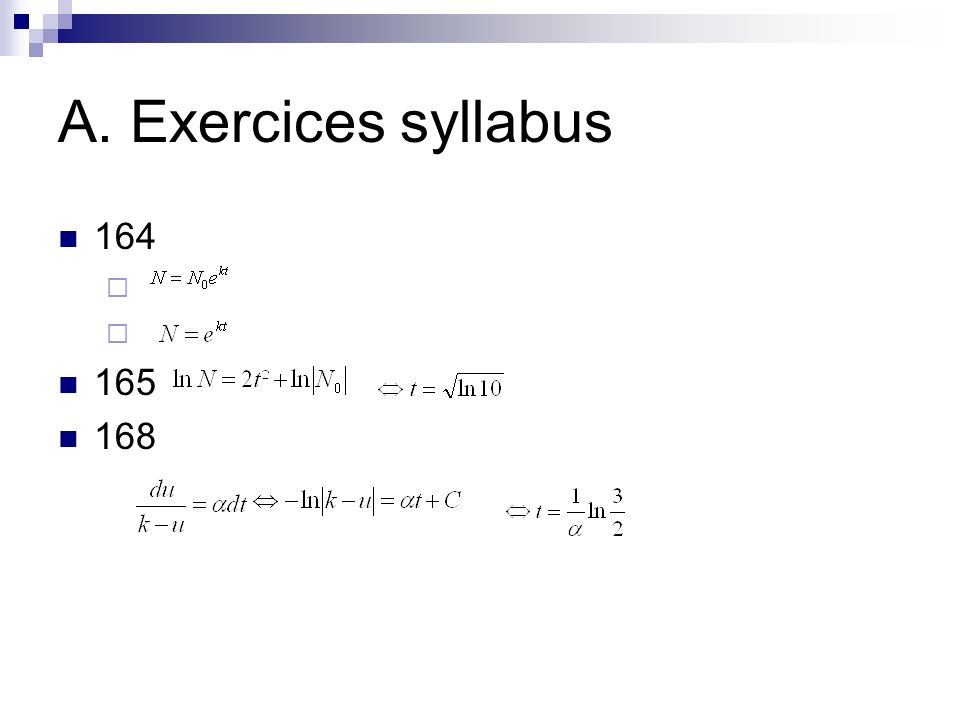 A. Exercices syllabus 164 165 168