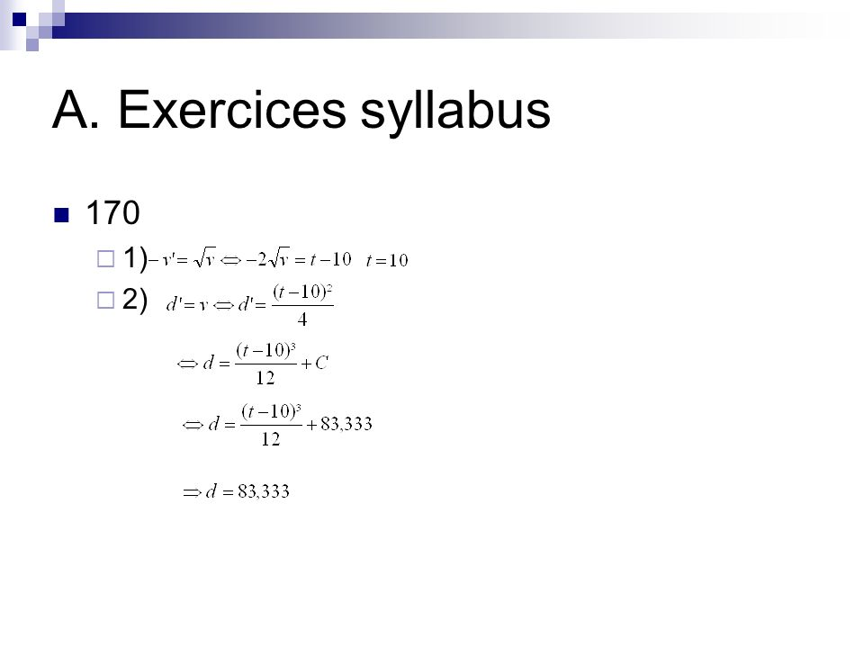 A. Exercices syllabus 170 1) 2)