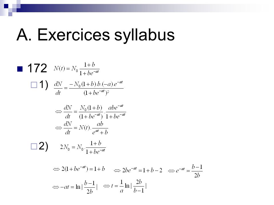 A. Exercices syllabus 172 1) 2)
