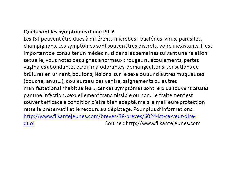 Quels sont les symptômes d'une IST