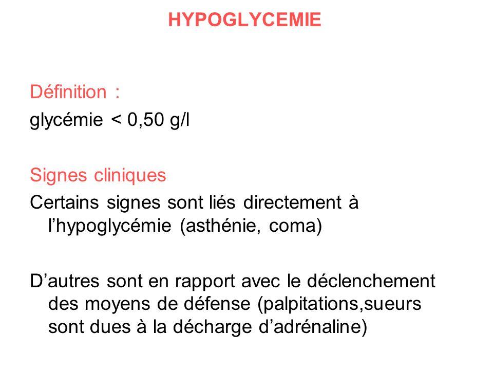 HYPOGLYCEMIE Définition : glycémie < 0,50 g/l. Signes cliniques. Certains signes sont liés directement à l'hypoglycémie (asthénie, coma)