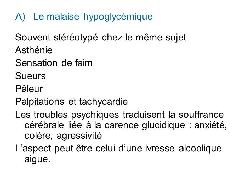 A) Le malaise hypoglycémique