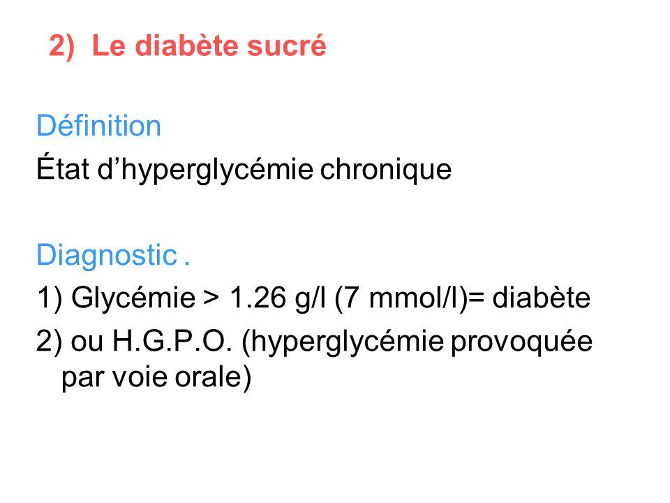 2) Le diabète sucré Définition. État d'hyperglycémie chronique. Diagnostic . 1) Glycémie > 1.26 g/l (7 mmol/l)= diabète.