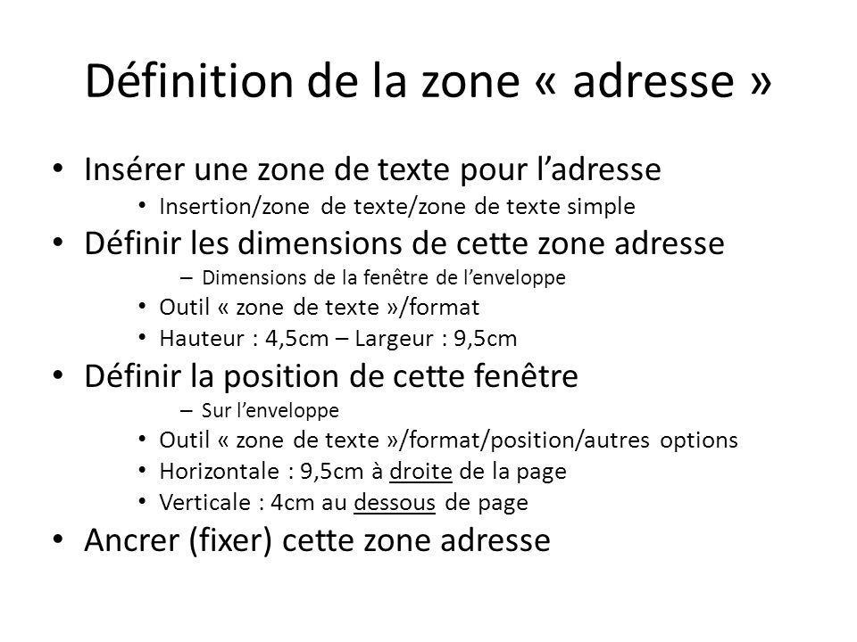 Définition de la zone « adresse »