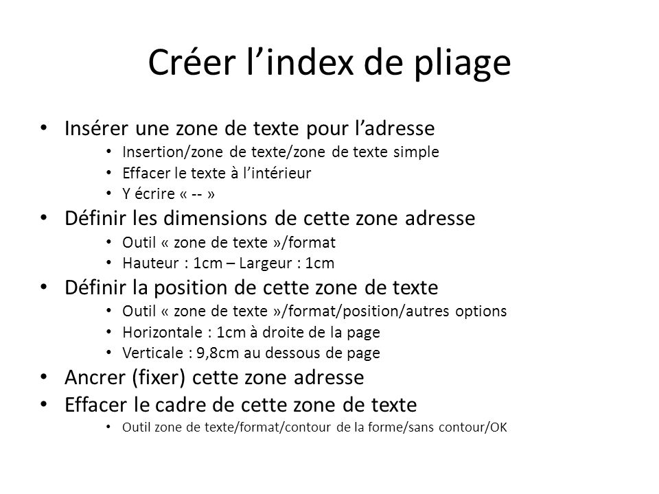 Créer l'index de pliage
