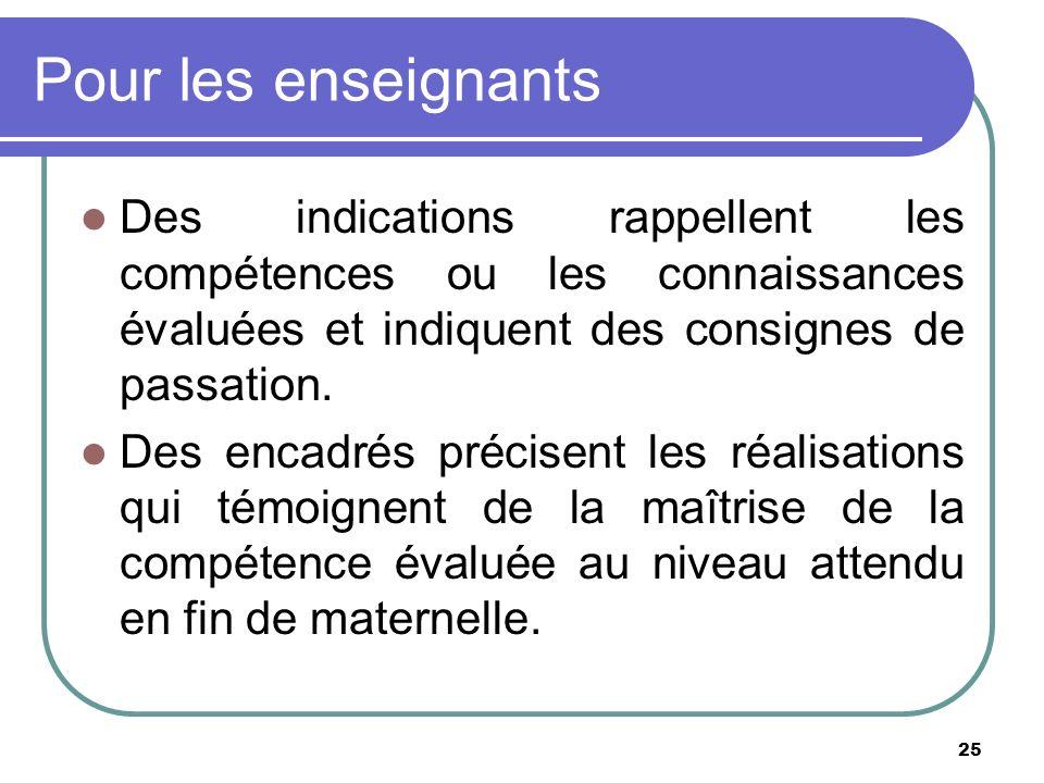 Pour les enseignants Des indications rappellent les compétences ou les connaissances évaluées et indiquent des consignes de passation.