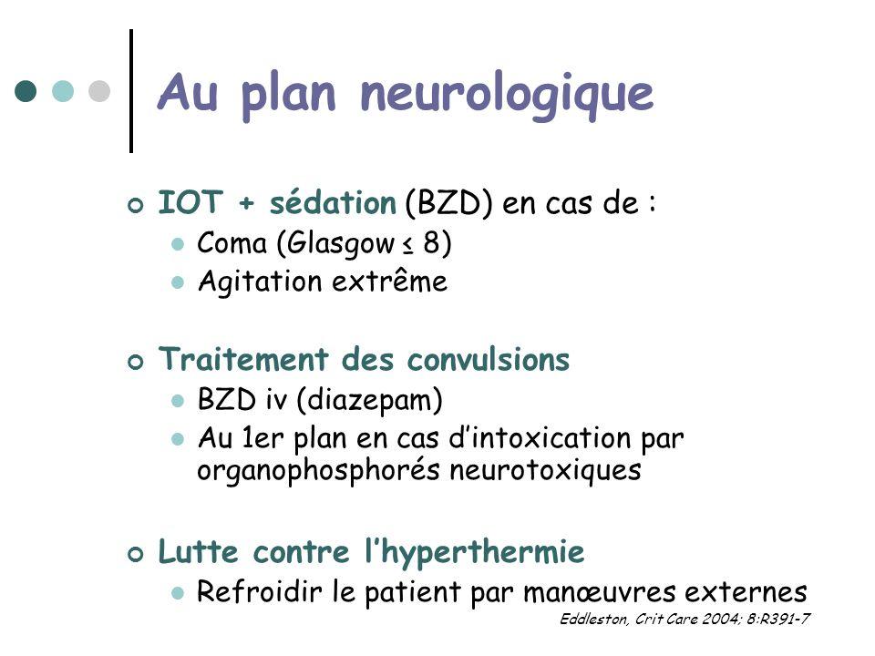 Au plan neurologique IOT + sédation (BZD) en cas de :