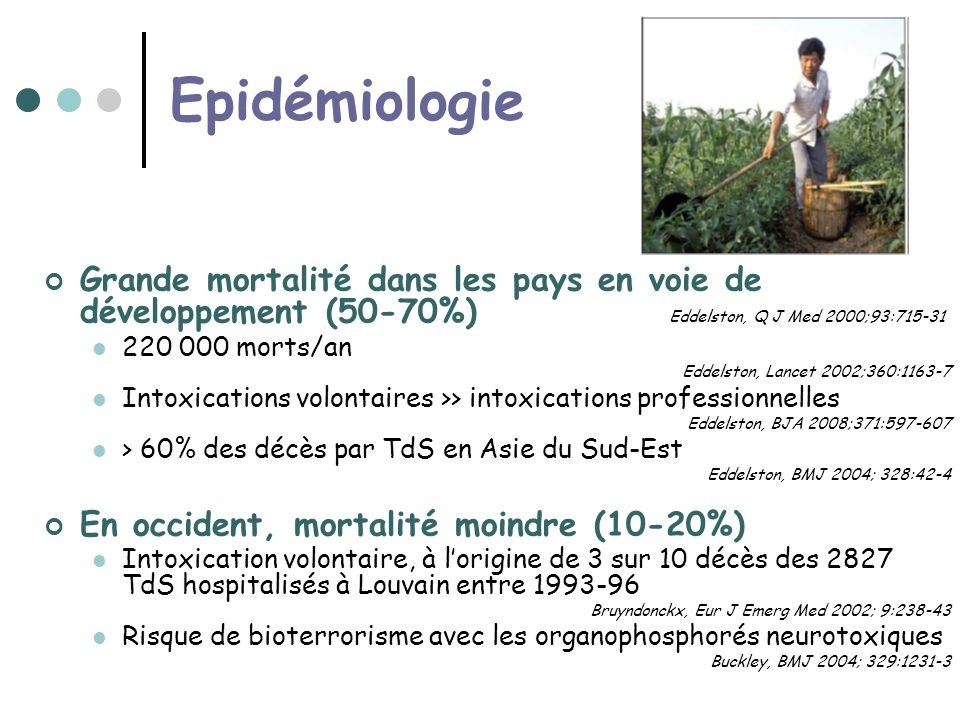 Epidémiologie Grande mortalité dans les pays en voie de développement (50-70%) Eddelston, Q J Med 2000;93:715-31.