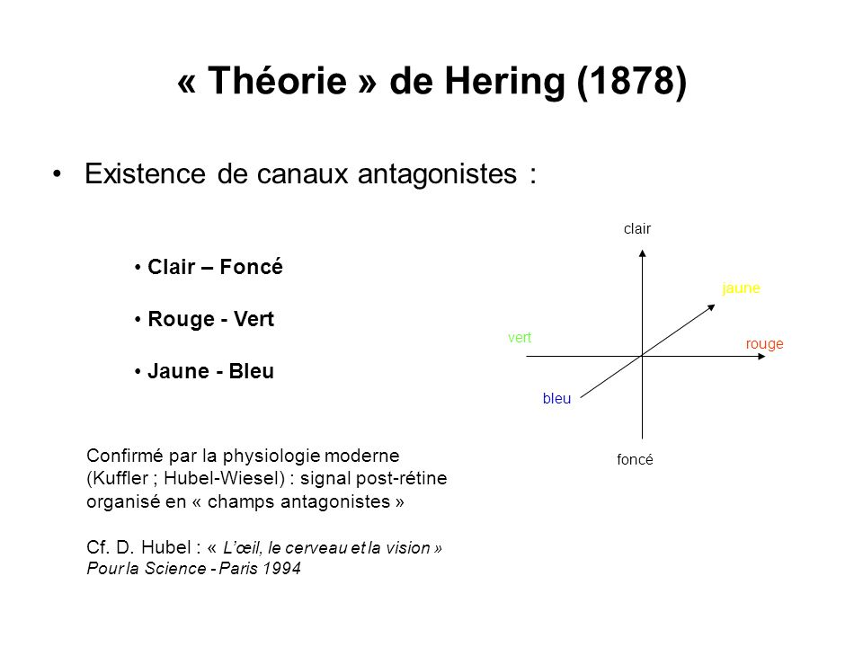 « Théorie » de Hering (1878) Existence de canaux antagonistes :