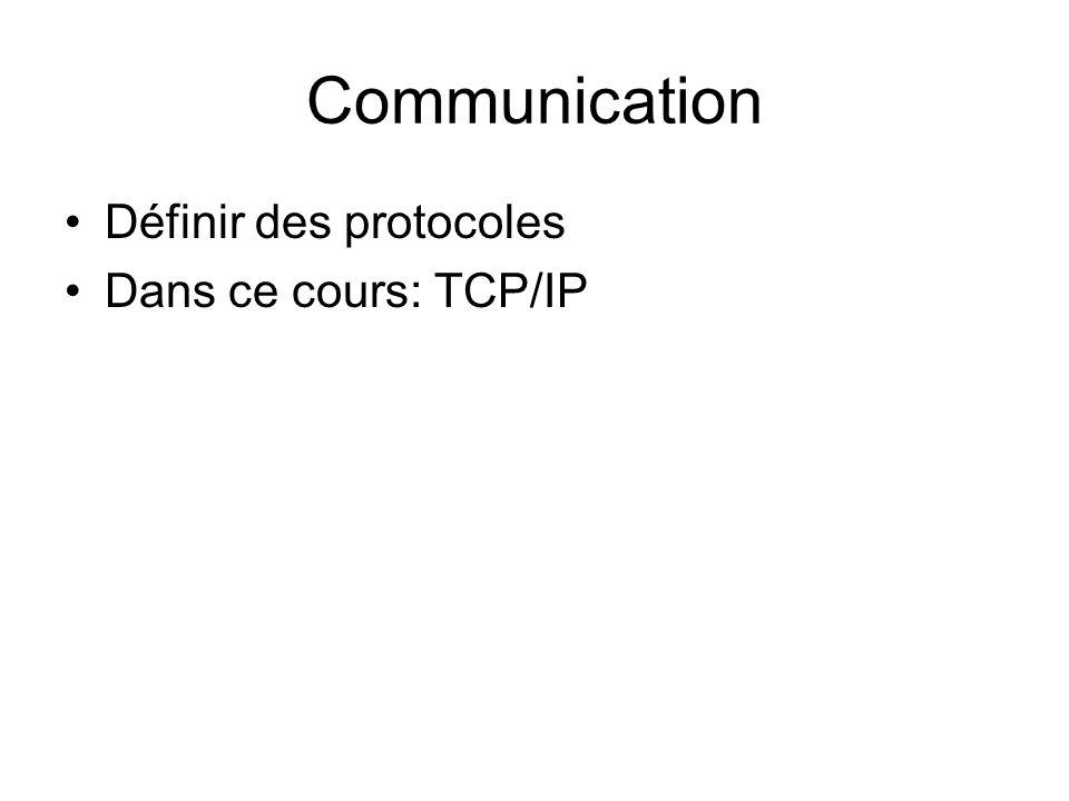 Communication Définir des protocoles Dans ce cours: TCP/IP