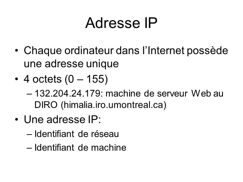 Adresse IP Chaque ordinateur dans l'Internet possède une adresse unique. 4 octets (0 – 155)