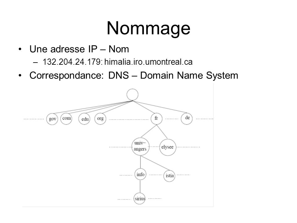Nommage Une adresse IP – Nom Correspondance: DNS – Domain Name System