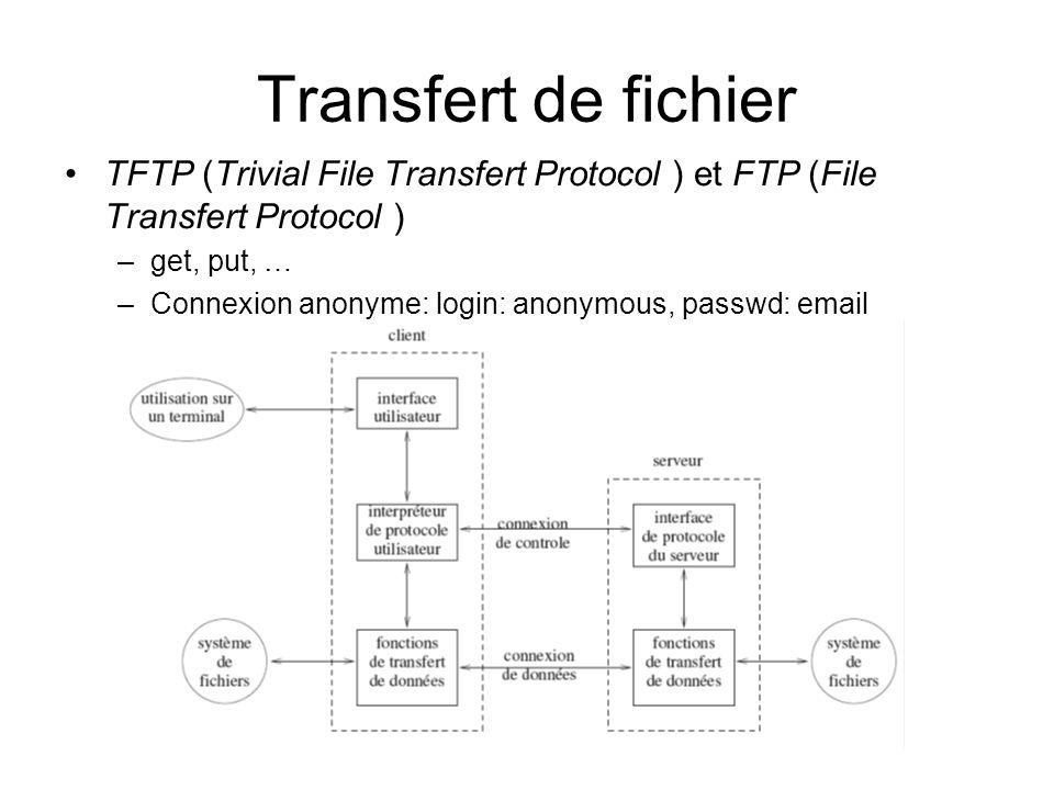 Transfert de fichier TFTP (Trivial File Transfert Protocol ) et FTP (File Transfert Protocol ) get, put, …