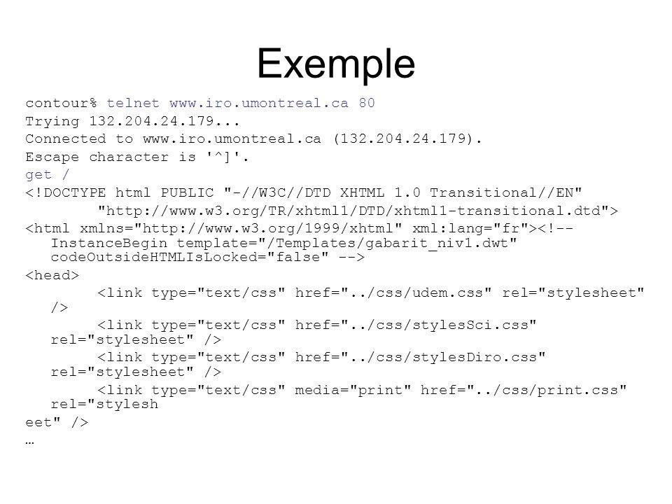 Exemple contour% telnet www.iro.umontreal.ca 80