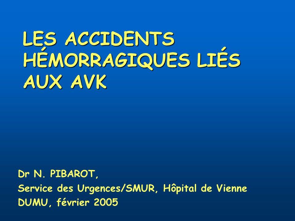 LES ACCIDENTS HÉMORRAGIQUES LIÉS AUX AVK