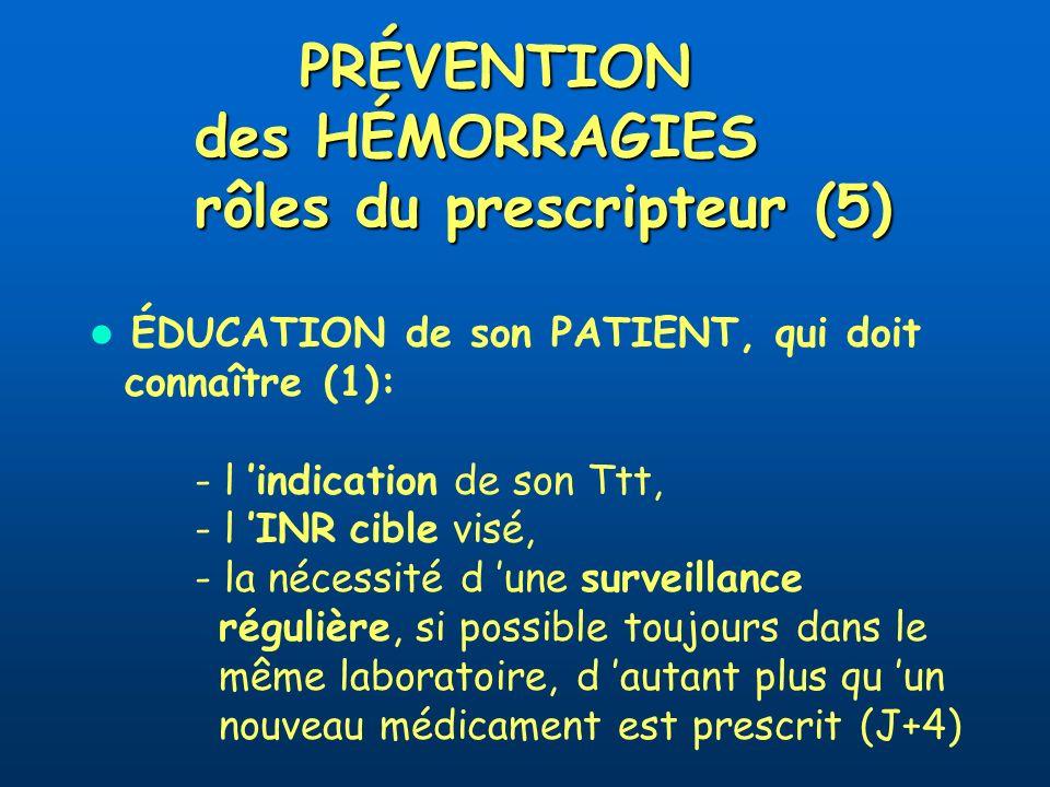 PRÉVENTION des HÉMORRAGIES rôles du prescripteur (5)