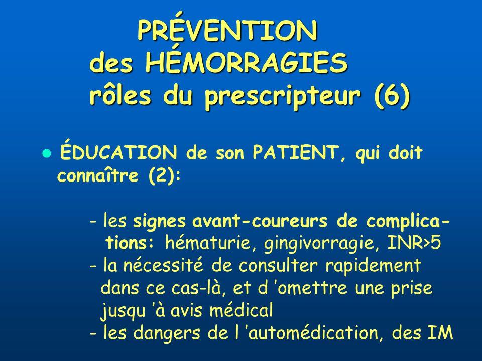 PRÉVENTION des HÉMORRAGIES rôles du prescripteur (6)