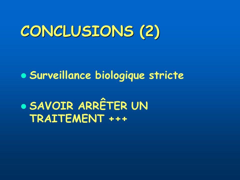 CONCLUSIONS (2) Surveillance biologique stricte