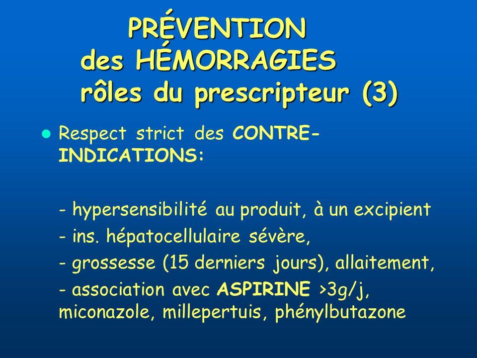 PRÉVENTION des HÉMORRAGIES rôles du prescripteur (3)