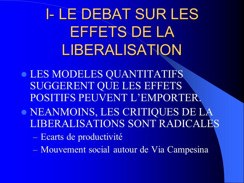 I- LE DEBAT SUR LES EFFETS DE LA LIBERALISATION