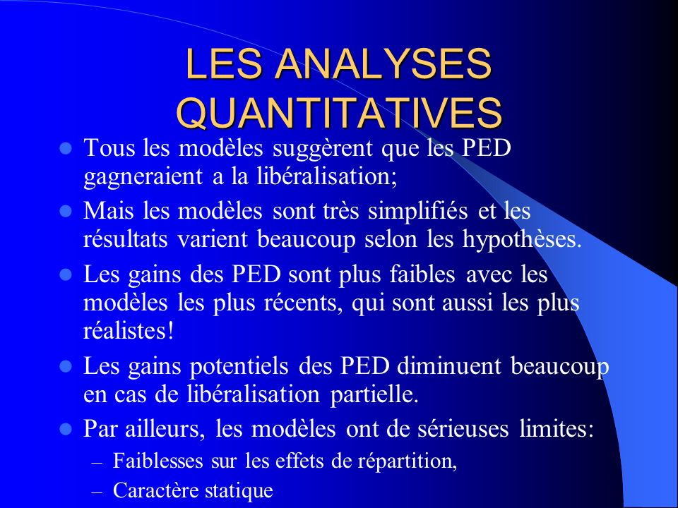 LES ANALYSES QUANTITATIVES