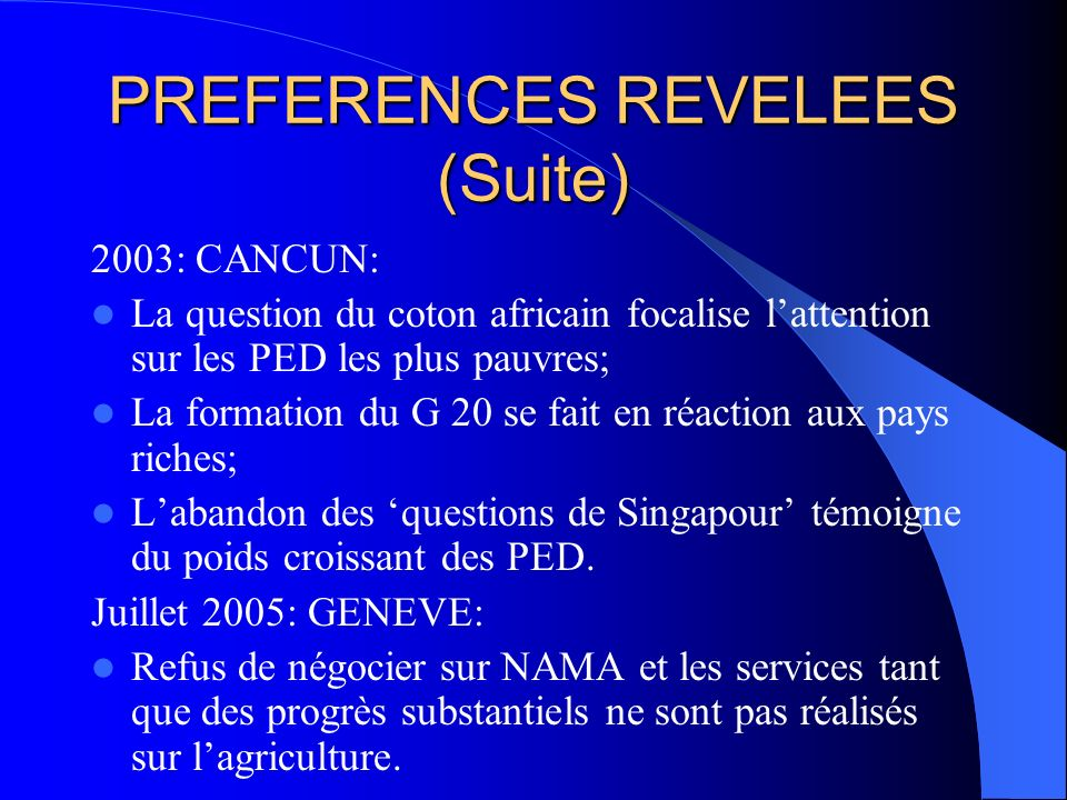PREFERENCES REVELEES (Suite)