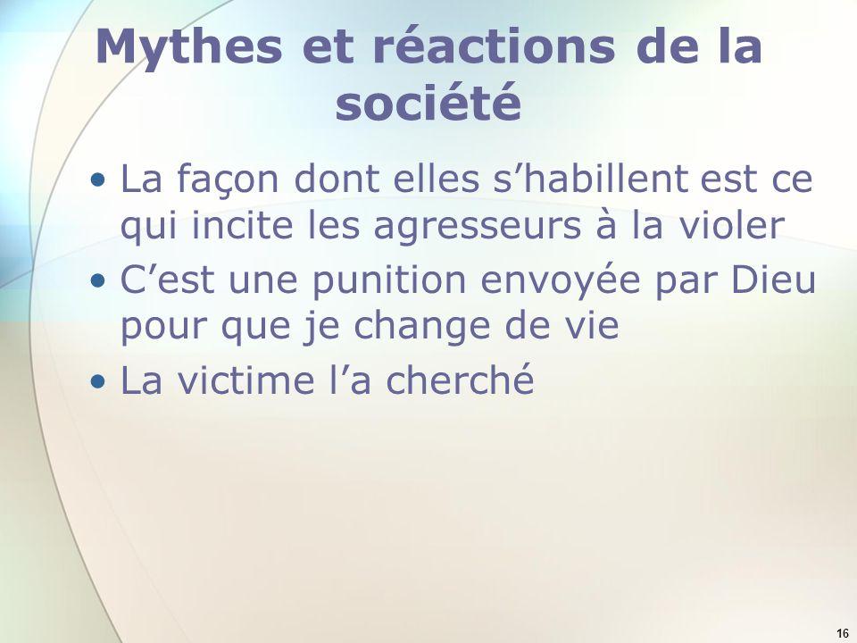Mythes et réactions de la société