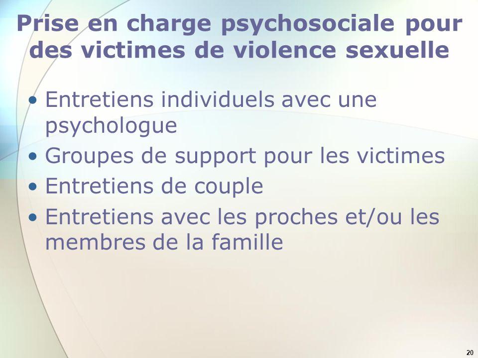 Prise en charge psychosociale pour des victimes de violence sexuelle