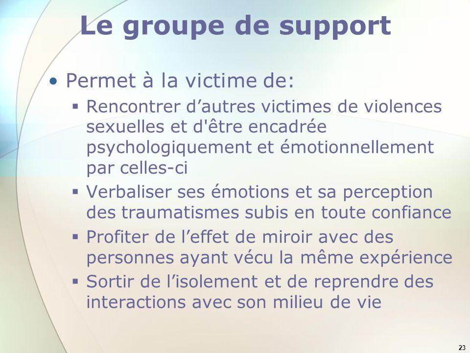 Le groupe de support Permet à la victime de: