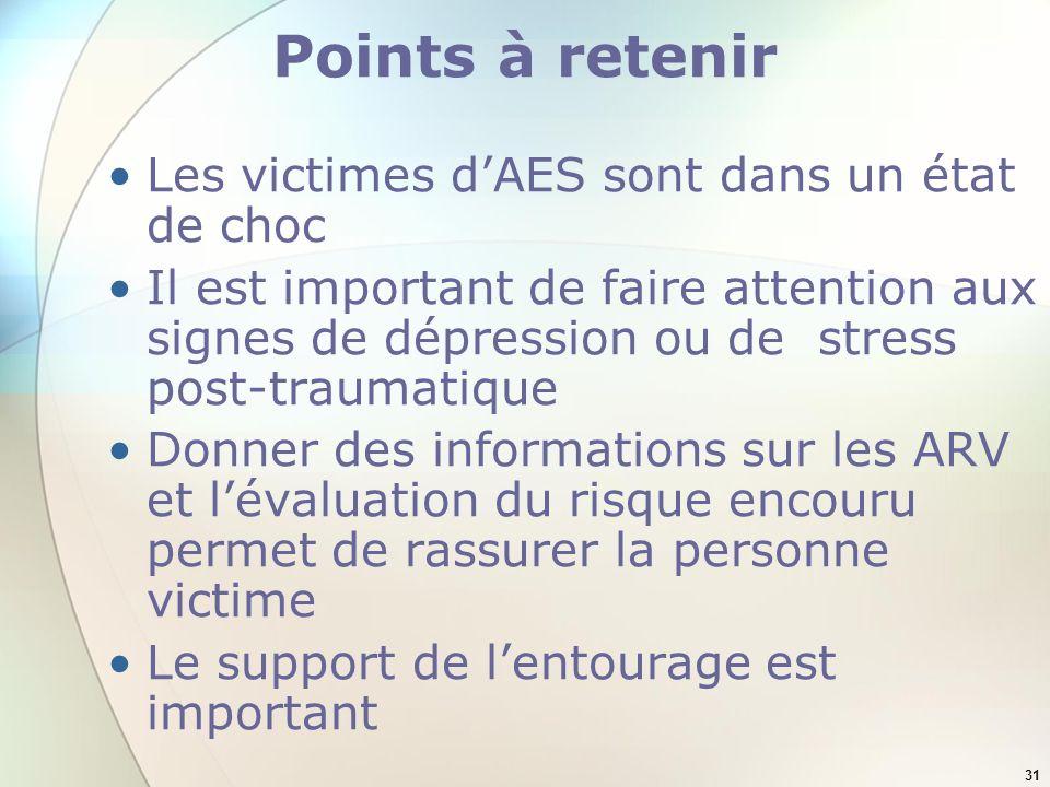 Points à retenir Les victimes d'AES sont dans un état de choc