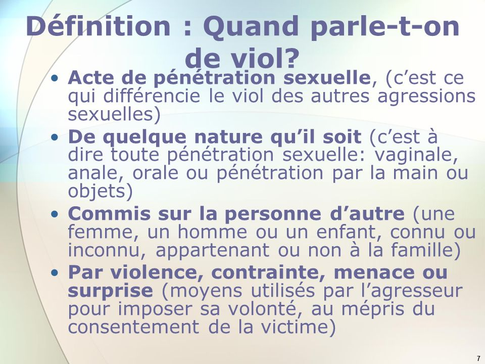 Définition : Quand parle-t-on de viol