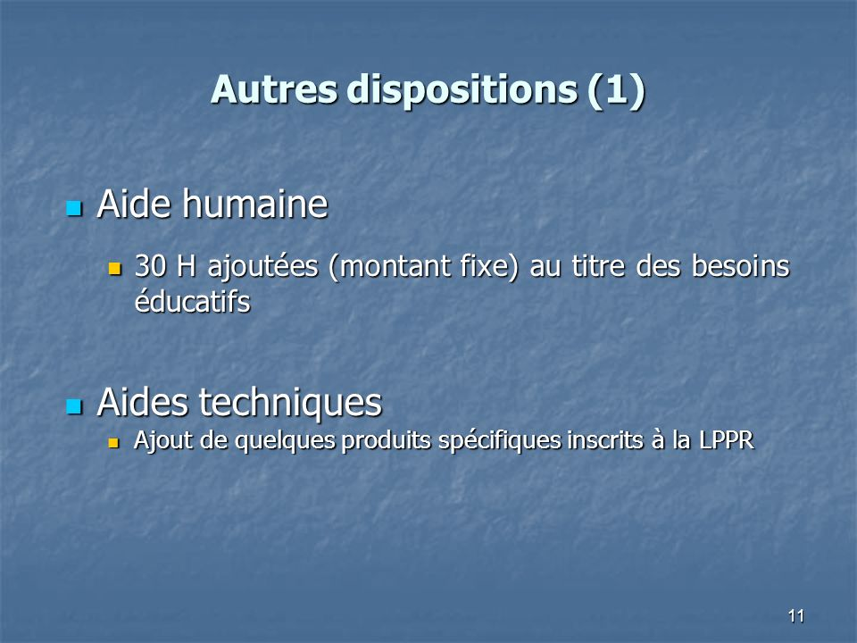 Autres dispositions (1)