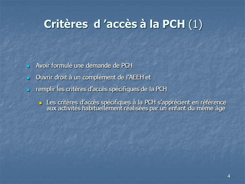 Critères d 'accès à la PCH (1)