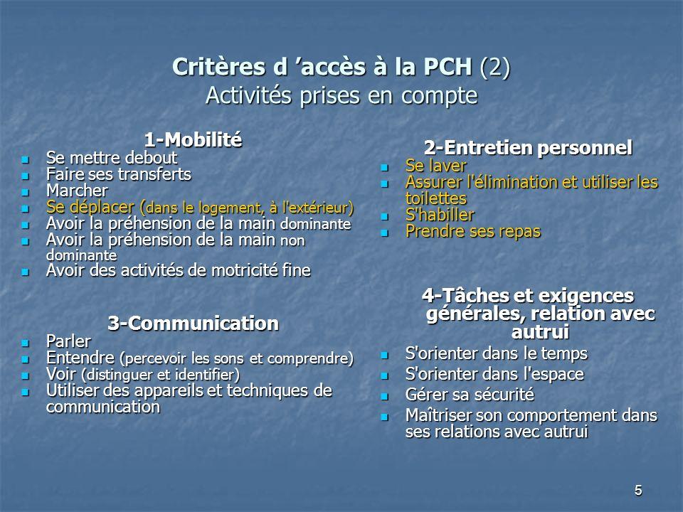 Critères d 'accès à la PCH (2) Activités prises en compte