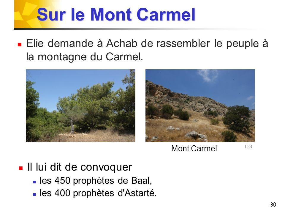 Sur le Mont Carmel Elie demande à Achab de rassembler le peuple à la montagne du Carmel. Mont Carmel.