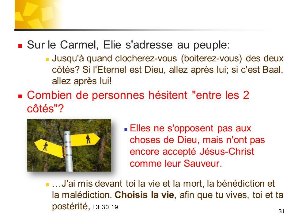 Sur le Carmel, Elie s adresse au peuple: