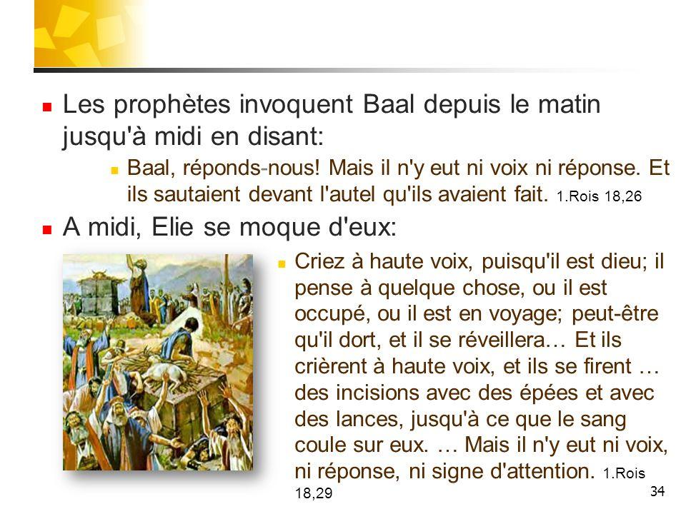 Les prophètes invoquent Baal depuis le matin jusqu à midi en disant: