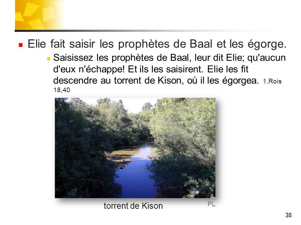 Elie fait saisir les prophètes de Baal et les égorge.