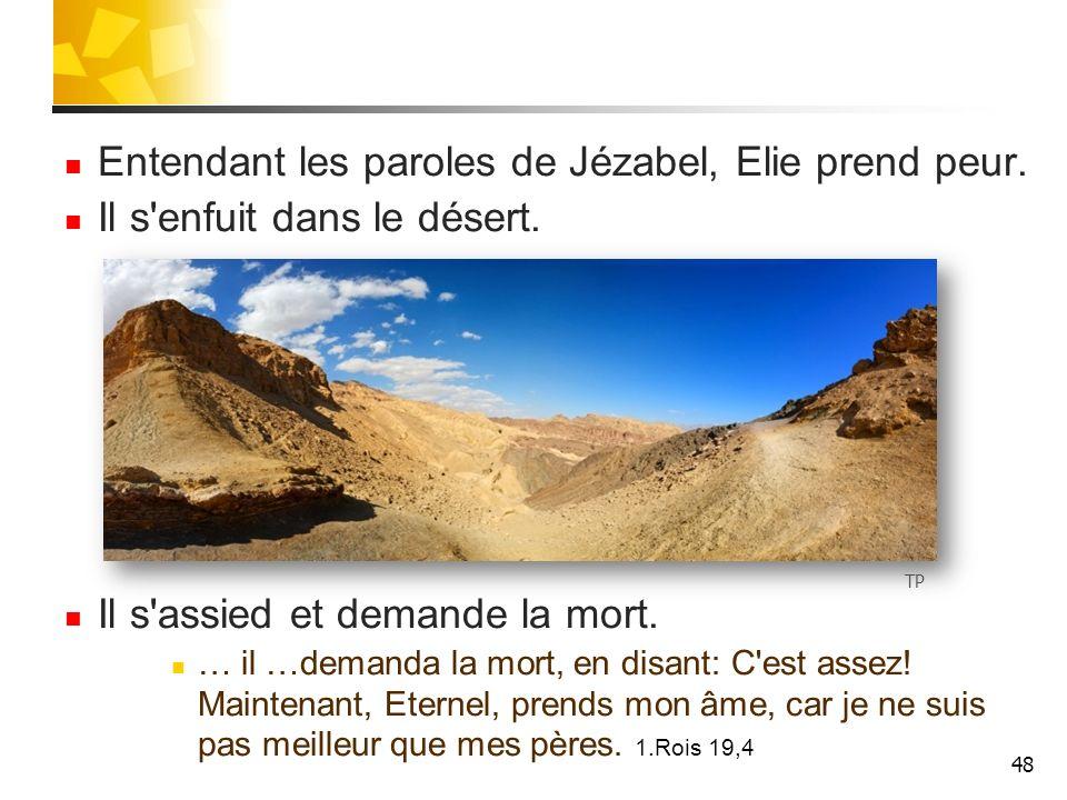 Entendant les paroles de Jézabel, Elie prend peur.