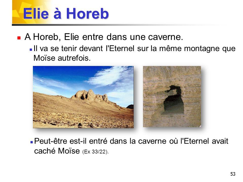 Elie à Horeb A Horeb, Elie entre dans une caverne.