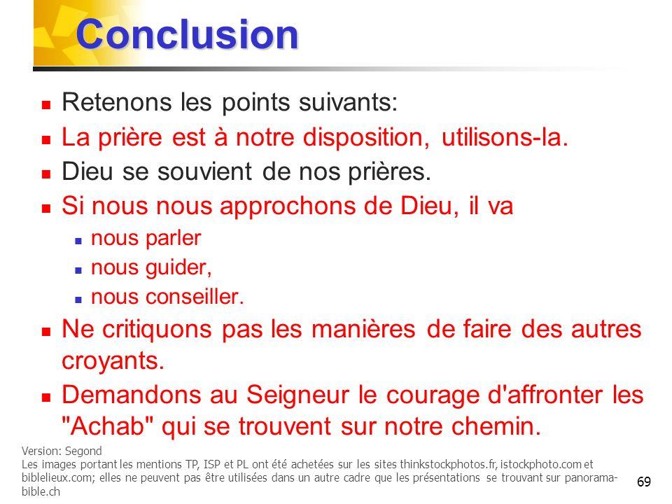Conclusion Retenons les points suivants: