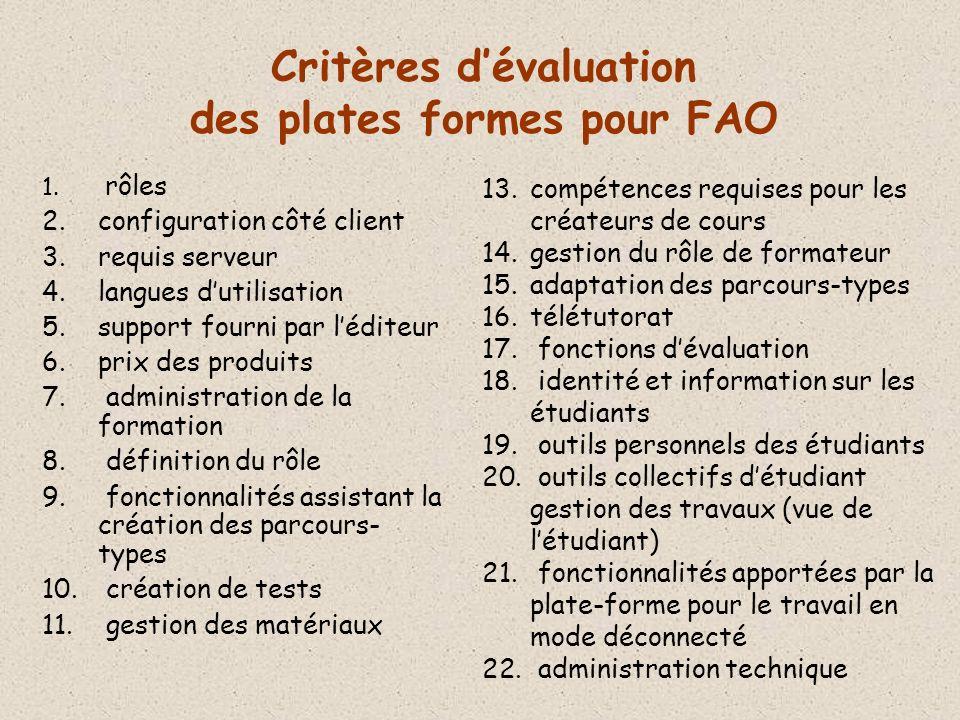 Critères d'évaluation des plates formes pour FAO