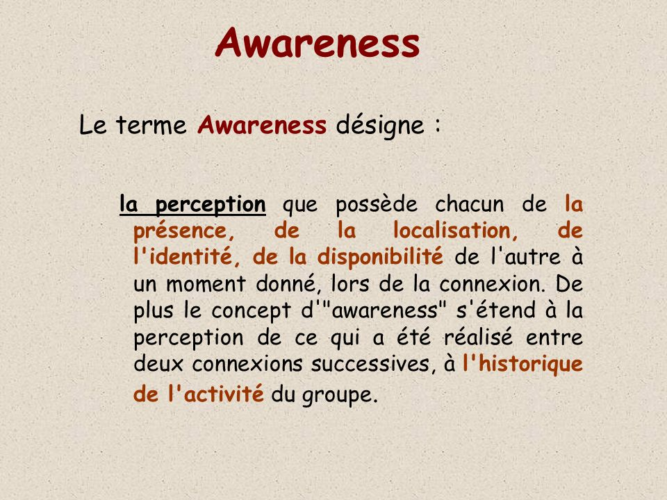 Awareness Le terme Awareness désigne :